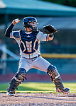 29 August 2019: Connecticut Tigers catcher Eliezer Alfonzo in action against the Vermont Lake Monsters at Centennial Field in Burlington, Vermont. The Tigers defeated the Lake Monsters 6-2 in the first game of their NY Penn League double-header.  Mandatory Credit: Ed Wolfstein Photo *** RAW (NEF) Image File Available ***