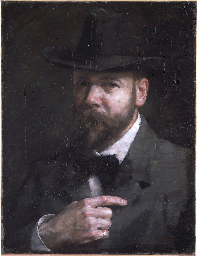 Oil on canvas on stretcher painting of Crone.  He gazes out at viewer but faces slightly to his right.  He wears a jacket, bow tie, and hat.  He is fully bearded.  His right hand rests on his torso.  Background is dark.<br />