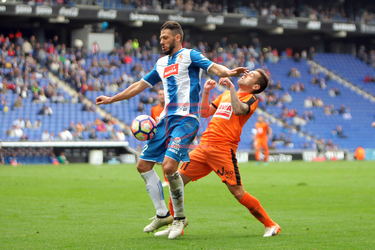 League Santander 2016/2017. Game: 9.<br /> RCD Espanyol vs SD Eibar: 3-3.<br /> Martin Demichelis vs Ruben Pe&ntilde;a.
