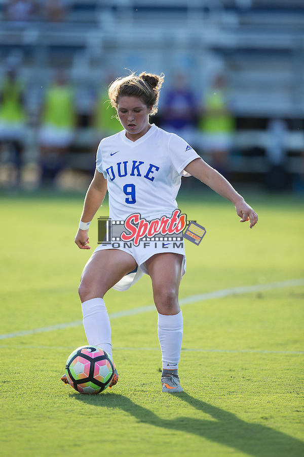 Kat McDonald (9) of the Duke Blue Devils passes the ball during first half action against the High Point Panthers at Koskinen Stadium on September 11, 2016 in Durham, North Carolina.  The Blue Devils defeated the Panthers 4-1.   (Brian Westerholt/Sports On Film)