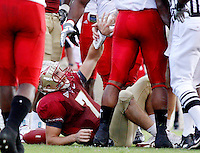 TALLAHASSEE, FL 10/31/09-FSU-NCST FB09 CH19-Florida State's Christian Ponder is helped up after a hit (play he was injured?) during first half action against N.C. State Saturday at Doak Campbell Stadium in Tallahassee. .COLIN HACKLEY PHOTO