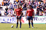 Spain's Brad Linklater and Jesus Moreno during Rugby Europe Championship 2017 match between Spain and Belgium in Madrid. March 18, 2017. (ALTERPHOTOS/Borja B.Hojas)