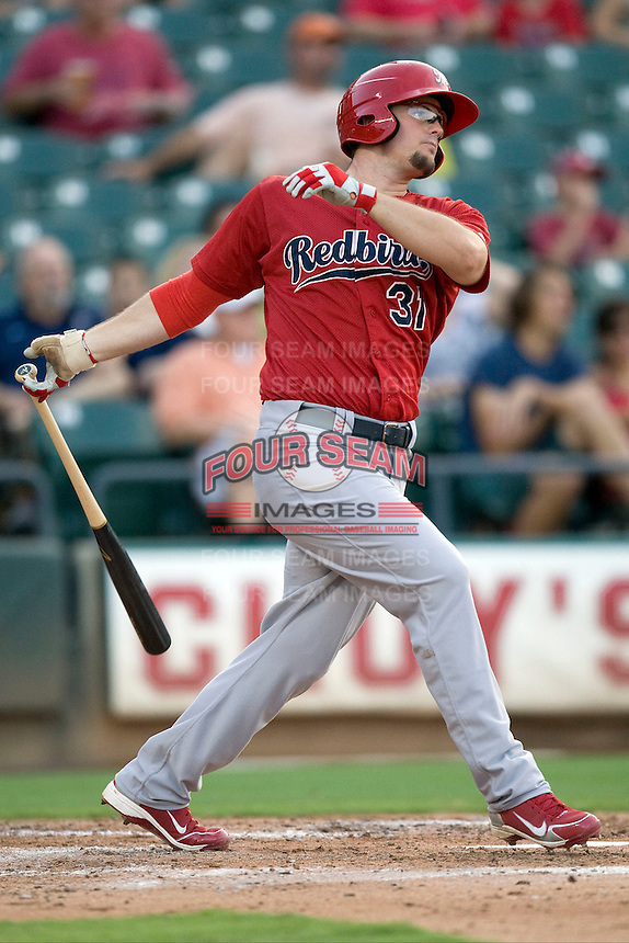 Memphis Redbirds first baseman Mark Hamilton #31 swings against the Round Rock Express at the Dell Diamond on July 10, 2011 in Round Rock, Texas.  Memphis defeated Round Rock 10-9.  (Andrew Woolley / Four Seam Images)