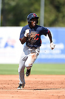 Isaiah White (4) of Greenfield School in Wilson, North Carolina playing for the Cleveland Indians scout team during the East Coast Pro Showcase on July 31, 2014 at NBT Bank Stadium in Syracuse, New York.  (Mike Janes/Four Seam Images)