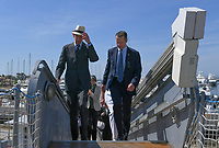 Pictured: Prince Edward (L) arrives. Saturday 18 May 2019<br /> Re: Prince Edward, Duke of Kent visits cruiser Georgios Averof at Palaio Faliro, Athens, Greece