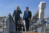 Pictured: Prince Edward (L) arrives. Saturday 18 May 2019<br /> Re: Prince Edward, Duke of Kent visits cruiser Georgios Averof at Palaio Faliro, Athens, Greece