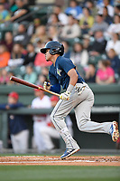 Shortstop Edgardo Fermin (10) of the Columbia Fireflies bats in a game against the Greenville Drive on Tuesday, April 17, 2018, at Fluor Field at the West End in Greenville, South Carolina. Columbia won, 7-5. (Tom Priddy/Four Seam Images)