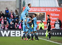Stevenage's Ilias Chair celebrates scoring his side's second goal with team-mates<br /> <br /> Photographer Chris Vaughan/CameraSport<br /> <br /> The EFL Sky Bet League Two - Lincoln City v Stevenage - Saturday 16th February 2019 - Sincil Bank - Lincoln<br /> <br /> World Copyright © 2019 CameraSport. All rights reserved. 43 Linden Ave. Countesthorpe. Leicester. England. LE8 5PG - Tel: +44 (0) 116 277 4147 - admin@camerasport.com - www.camerasport.com