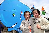 6-5-2012: SUNDAY: Dingle sisters, Hayley (5) and Kayla (6) dressed as explorers pictured in the annual Dingle Feile na Bealtaine Festival parade which had the theme of 'Tom Crean-Antartic Explorer' featuring explorers,  icebergs, penguins, huskies, whales and musicians in the colourful procession through the streets on Sunday.  The festival finishes on Monday with a political symposium entitled 'Can We Re-Pay Our Way' at the Blasket Centre in Dun Chaoin.<br /> Picture by Don MacMonagle
