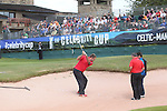 Scott Quinell takes on a bunker challenge watched by Bernhard Gallagher and Chris Hollins.<br /> Celebrity Cup Golf<br /> Celtic Manor Resort<br /> 04.07.14<br /> &copy;Steve Pope-SPORTINGWALES