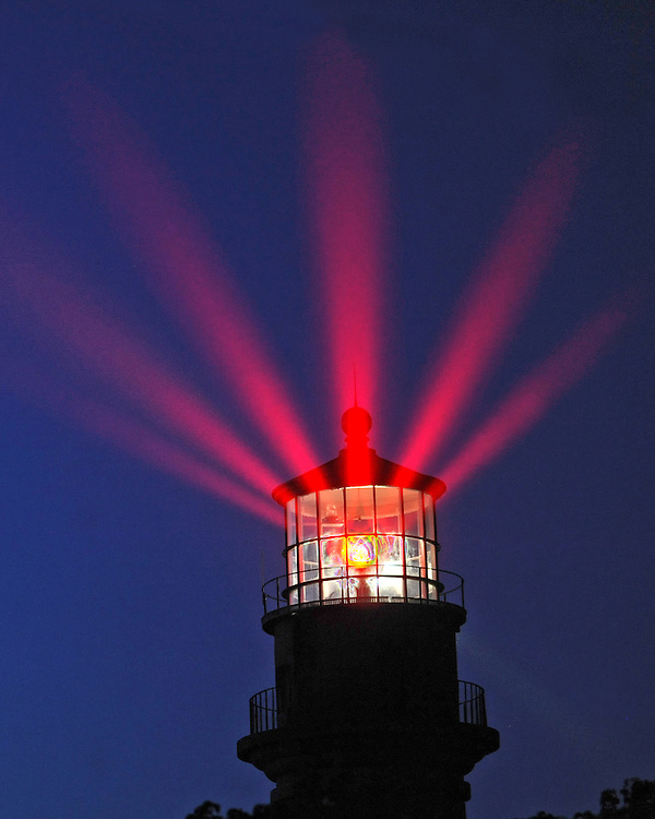 Gay Head Light on Martha's Vineyard is seen in a multiple exposure image on Friday, August 26, 2011.