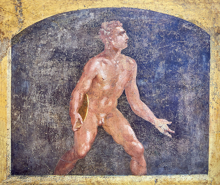 Detail of the Roman fresco wall painting of a Discus thrower from the  triclinium,  a formal dining room, of the Villa Arriana (Adriana), Stabiae (Stabia) near Pompeii , inv 9053, Naples National Archaeological Museum