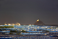 Tillamook Rock Lighthouse with storm clouds. Oregon