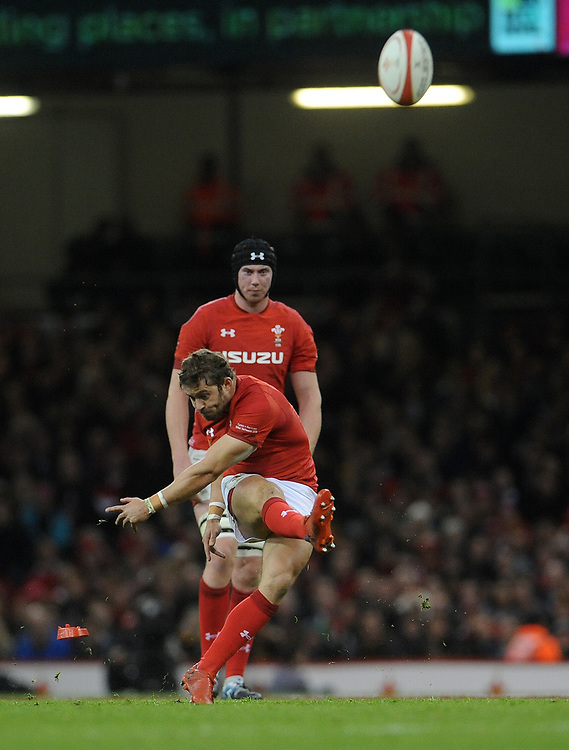Wales' Leigh Halfpenny kicks a penalty<br /> <br /> Photographer Ian Cook/CameraSport<br /> <br /> Under Armour Series Autumn Internationals - Wales v Australia - Saturday 10th November 2018 - Principality Stadium - Cardiff<br /> <br /> World Copyright © 2018 CameraSport. All rights reserved. 43 Linden Ave. Countesthorpe. Leicester. England. LE8 5PG - Tel: +44 (0) 116 277 4147 - admin@camerasport.com - www.camerasport.com