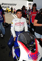 Jun. 2, 2012; Englishtown, NJ, USA: NHRA pro stock motorcycle rider Hector Arana Jr during qualifying for the Supernationals at Raceway Park. Mandatory Credit: Mark J. Rebilas-
