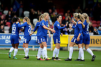 Chelsea Ladies celebrate their opening goal scored by Maren Mjelde during Chelsea Ladies vs Liverpool Ladies, FA Women's Super League FA WSL1 Football at Kingsmeadow on 7th October 2017