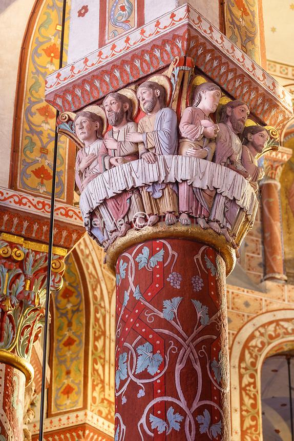 France, Puy de Dome, Issoire, Saint Austremoine abbatial church dated 12th century, sculptured capital representing the Last Supper // France, Puy-de-Dôme (63), Issoire, abbatiale romane Saint-Austremoine du XIIe siècle, chapiteau représentant la Cène