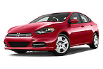 Stock pictures of low aggressive front three quarter view of a 2015 Dodge Dart SE 4 Door Sedan Low Aggressive