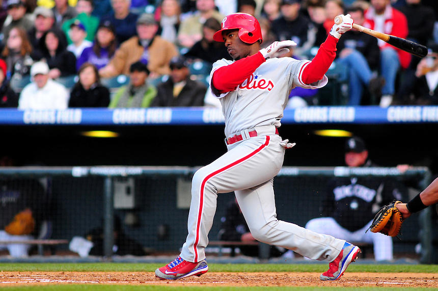 April 11, 2009: Phillies shortstop Jimmy Rollins at bat during a game between the Philadelphia Phillies and the Colorado Rockies at Coors Field in Denver, Colorado. The Phillies beat the Rockies 8-4.
