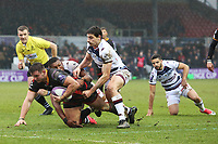 Elliot Dee of Dragons is tackled as he heads to score the first try of the game during the European Challenge Cup match between Dragons and Bordeaux Begles at Rodney Parade, Newport, Wales, UK. 20 January 2018