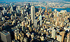 Aerial view of  Midtown New York City, view East towards Brooklyn