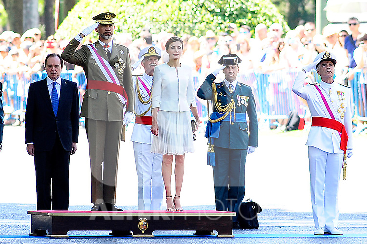 King Felipe VI of Spain and Queen Letizia of Spain attend the 2015 Armed Forces Day Ceremony at the Plaza de la Lealtad. June 6,2015. (ALTERPHOTOS/Pool/Rogelio Pinate)