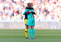 PARIS,  - JUNE 16: Ryann Torrero #23 embraces Allysa Naeher #1 during a game between Chile and USWNT at Parc des Princes on June 16, 2019 in Paris, France.