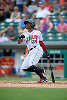 Indianapolis Indians Ke'Bryan Hayes (24) at bat during an International League game against the Syracuse Mets on July 17, 2019 at Victory Field in Indianapolis, Indiana.  Syracuse defeated Indianapolis 15-5  (Mike Janes/Four Seam Images)