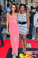 Celena Cherry, Mariama Goodman<br /> The &quot;Bula Quo!&quot; UK film premiere, Odeon West End cinema, Leicester Square, London, England.<br /> July 1st, 2013<br /> full length black white pink dress pattern belt <br /> CAP/BF<br /> &copy;Bob Fidgeon/Capital Pictures