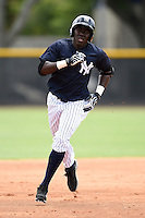 GCL Yankees 2 outfielder Anderson Feliz (30) runs the bases after hitting a home run during a game against the GCL Braves on June 23, 2014 at the Yankees Minor League Complex in Tampa, Florida.  GCL Yankees 2 defeated the GCL Braves 12-4.  (Mike Janes/Four Seam Images)