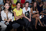 01.09.2012. Celebrities attending the Juanjo Oliva fashion show during the Mercedes-Benz Fashion Week Madrid Spring/Summer 2013 at Ifema. In the image (L-R) Cristina Brondo, Hiba Abouk, Jan Cornet and Silvia Alonso (Alterphotos/Marta Gonzalez)
