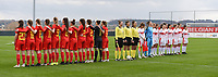 20190403  - Tubize , BELGIUM : both teams pictured during the soccer match between the women under 19 teams of Belgium and Switzerland , on the first matchday in group 2 of the UEFA Women Under19 Elite rounds in Tubize , Belgium. Wednesday 3 th April 2019 . PHOTO DIRK VUYLSTEKE / Sportpix.be