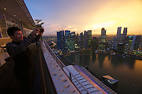 Singapore. Marina Bay Sands. Sunset view over Marina Bay and downtown.