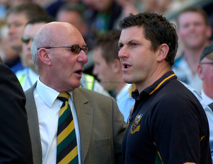 Photo: Richard Lane..Northampton Saints v London Irish. Guinness Premiership. 28/04/2007. .Saints' Chairman, Keith Barwell and Director of Rugby, Paul Grayson (rt) look on as their side is relegated.