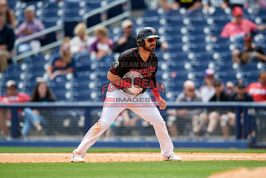 Nashville Sounds designated hitter Renato Nunez (34) leads off first base during a game against the New Orleans Baby Cakes on May 1, 2017 at First Tennessee Park in Nashville, Tennessee.  Nashville defeated New Orleans 6-4.  (Mike Janes/Four Seam Images)