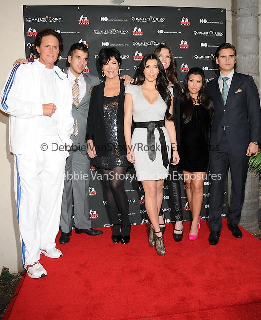 Bruce Jenner,Rob Kardashian,Kris Kardasahian,Kim Kardashian,Khloe Kardashian Odom, Kourtney Kardashian & Scott Disick at The Kardashian Charity Knock Out held at The Commerce Casino in Commerce, California on November 03,2009                                                                   Copyright 2009 DVS / RockinExposures