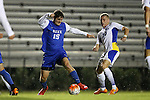 05 October 2015: Duke's Zach Mathers (15) and Hofstra's Joseph Holland (ENG) (10). The Duke University Blue Devils hosted the Hofstra University Pride at Koskinen Stadium in Durham, NC in a 2015 NCAA Division I Men's Soccer match. Duke won the game 3-2 in overtime.