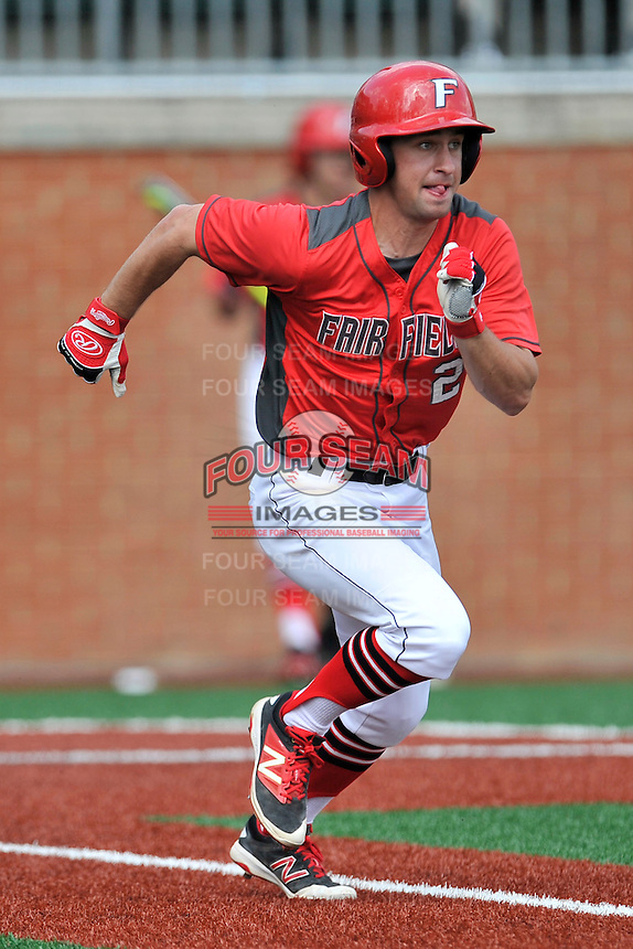 Shortstop Jack Gethings (2) of the Fairfield Stags runs toward first in a game against the Charlotte 49ers on Saturday, March 12, 2016, at Hayes Stadium in Charlotte, North Carolina. (Tom Priddy/Four Seam Images)