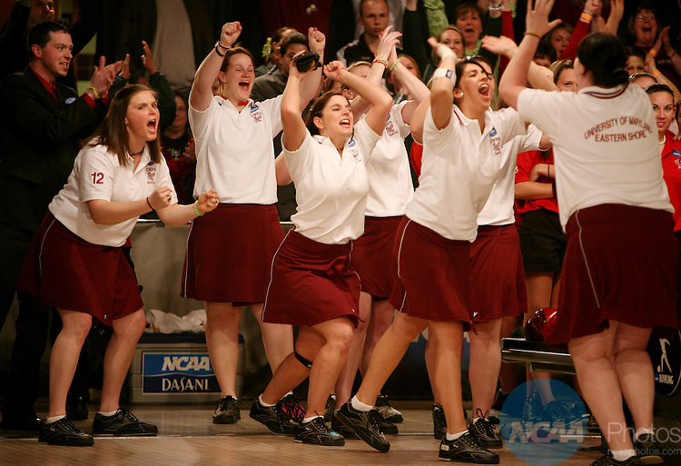 12 APR 2008:  The University of Maryland Eastern Shore women's bowling team celebrates their win in six games over Arkansas State during the Division I Women?s Bowling Championship held at Thunder Alley in Omaha, NE. Alyssa Schukar/NCAA Photos
