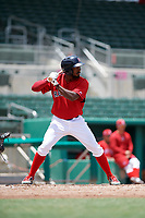 GCL Red Sox right fielder Chad Hardy (25) at bat during a game against the GCL Rays on August 1, 2018 at JetBlue Park in Fort Myers, Florida.  GCL Red Sox defeated GCL Rays 5-1 in a rain shortened game.  (Mike Janes/Four Seam Images)
