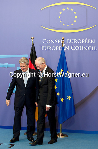 Brussels-Belgium, April 16, 2012 -- Herman Van ROMPUY (ri), President of the European Council, welcomes Joachim GAUCK (le), President of the Federal Republic of Germany -- Photo: © HorstWagner.eu