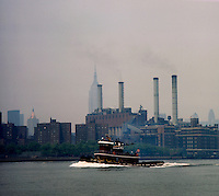 Tug boat on the East river. Series of images from New York between 1975 -1977. New York,USA.