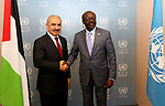 Palestinian Prime Minister Mohammad Ishtayeh, meets with Mukhisa Kituyi, UNCTAD Secretary-General, in Geneva, Switzerland, on June 13, 2019. Photo by Prime Minister Office