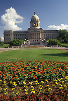 State Capitol, Frankfort, KY, State House, Kentucky, Spring flowers decorate the grounds of the Kentucky State Capitol Building in the capital city of Frankfort.