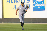 Right fielder Mike Stanton #45 of the Jacksonville Suns catches a fly ball against the Carolina Mudcats at Five County Stadium May 15, 2010, in Zebulon, North Carolina.  Photo by Brian Westerholt /  Seam Images
