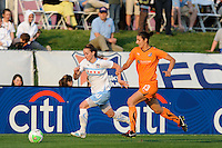 Kosovare Asllani (10) of the Chicago Red Stars is chased by Yael Averbuch (13) of Sky Blue FC. Sky Blue FC defeated the Chicago Red Stars 1-0 in a Women's Professional Soccer (WPS) match at Yurcak Field in Piscataway, NJ, on April 11, 2010.