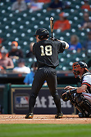 Pat DeMarco (18) of the Vanderbilt Commodores at bat against the Sam Houston State Bearkats in game one of the 2018 Shriners Hospitals for Children College Classic at Minute Maid Park on March 2, 2018 in Houston, Texas. The Bearkats walked-off the Commodores 7-6 in 10 innings.   (Brian Westerholt/Four Seam Images)