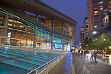 CANADA, Vancouver, British Columbia, exterior view of the Convention Center at night, Coal Harbor