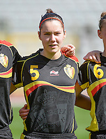 20140407 - BRUSSELS , BELGIUM : Belgian Elien Van Wynendaele pictured during the female soccer match between CZECH REPUBLIC U19 and BELGIUM U19 , in the second game of the Elite round in group 4 in the UEFA European Women's Under 19 competition 2014 in the Koning Boudewijn Stadion , Monday 7 April 2014 in Brussels . PHOTO DAVID CATRY
