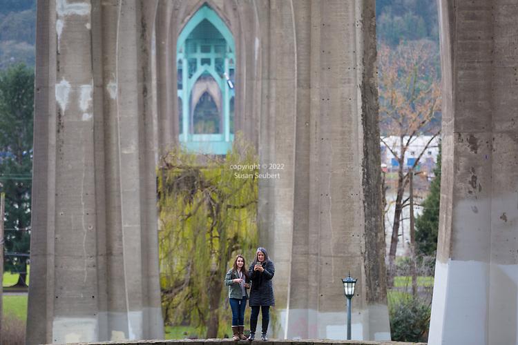 Cathedral Park under the St. Johns Bridge in Portland, Oregon